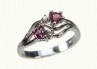 14KW Promise Ring #7480 with 4x4 garnet hearts