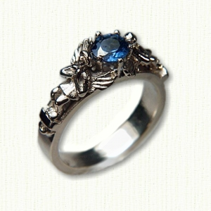 14kt white gold Angel style ring with .62ct blue sapphire