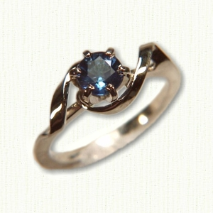 14Kt white gold 'Beverly' set with a .74ct round blue sapphire.