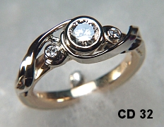 Custom 14kt Two Tone Gold Engagement Ring And Matching Gents Wedding