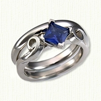 Platinum Danielle Mounting with Compass Set Blue Sapphire