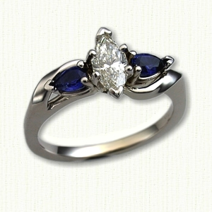 Debbie Style Engagement Ring with Marquise Diamond and Side Sapphires