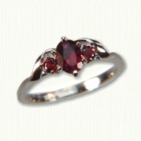 Deborah Style Engagement Ring set with an Oval Garnet