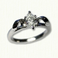 14Kt white gold 'Deborah' Engagement Ring set with pear shaped diamond.