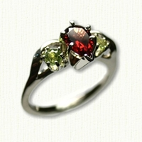 Deborah Style Engagement Ring Set with Pear Shaped Garnet and Side Peridots