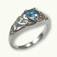 14kt White Gold Promise Ring set with a 4 x 4 Heart Shaped Blue Topaz
